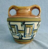 Harsa Israel Art Pottery Vintage Double Handle Vase Mid Century Hand Painted SSY
