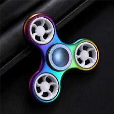 New Fidget Rainbow Tri Spinner Finger Spin Stress white Wheel EDC ADHD Autism #4