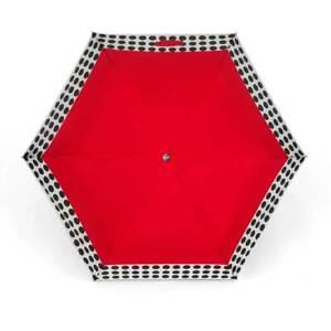 ShedRain Auto Open/Close Air Vent Compact Umbrella - Red Polka Dot - Wood Handle
