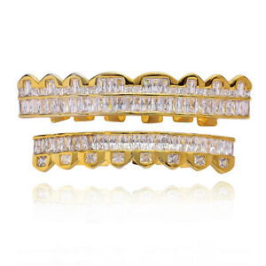 Custom Fit Hip Hop Grills 8 Top and 8 Bottom Set ICED AAA+ CZ Bling Teeth Grillz