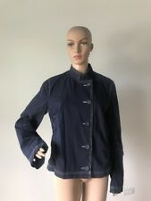H&M Dark Navy Blue 100% Cotton Lightweight Jacket Stand Collar Washable 12 M/L