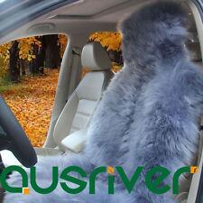 Grey Premium Quality Australian Sheep Skin Car Long Wool Front Seat Cover