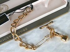 NEW AUTHENTIC JUICY COUTURE SAFETY PIN WITH CHARM GOLD STARTER BRACELET  NWT