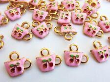 10 Cherry Design Tea Cup Pink Enamel Charm/Gold Plated/Bracelet/Bead/Beading EK4