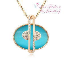 Fancy Oval Ocean Blue Long Necklace 18K Gold Plated Simulated Opal Diamond