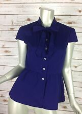Theory Top 4011 Womens Small Royal Blue Cotton Twill Cap Sleeve Pussybow Peplum