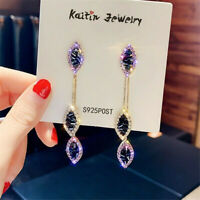 Luxury 925 Silver,Gold Drop Earrings for Women Crystal Jewelry A Pair/set