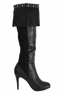 Western Women Boots Toppers Pair Black Leather Long Fringes Silver Studs + Beads