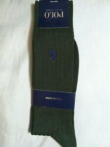 POLO RALPH LAUREN MENS NEW DK GREEN EGYPTIAN COTTON DRESS SOCKS SHOE SZ:6-12.5
