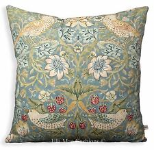 William Morris Fabric Cushion Cover Strawberry Thief Slate Green Vintage Pillow