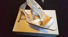 Manolo Blahnik White Chaos Patent Strap Sandals Size 10 NWB Retails 725.00