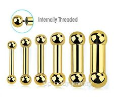 Gold PVD Plated Surgical Steel Internally Threaded Tongue Ring Barbell 10G-00G