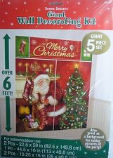 Giant Merry Christmas Santa Wall Decoration Kit (6' Tall) 5 Xmas Decorations