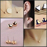 Fashion Women Lady Heart Silver/Gold Plated Charm Ear Stud Earrings+Necklace
