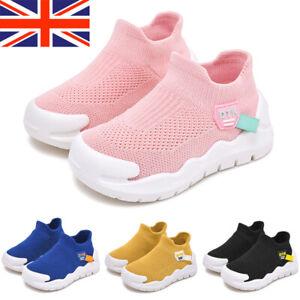 Kids Boys Girls Knit Sock Trainers Sneakers Slip On Jogging Pumps Shoes Size UK