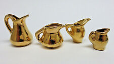 Set of (4) Pitchers ~ Vintage 1950's Dollhouse Miniature Gold China Porcelain