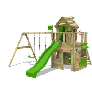FATMOOSE CrazyCat Climbing Frame Outdoor Wood Swing Set Slide Garden