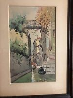 19th century signed watercolor painting Rio Albrizzi bridge canal Venice Italy