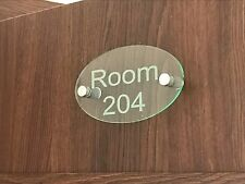 Contemporary OVAL HOUSE SIGN / PLAQUE / DOOR / NUMBER / GLASS EFFECT ACRYLIC