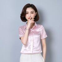 Women Office Short Sleeve Blouse Shirt Top Faux Silk Satin Business Formal Thin