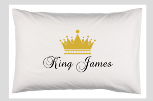 Personalised Pillowcase Cushion Pillow Case Cover - King Queen Prince Princess