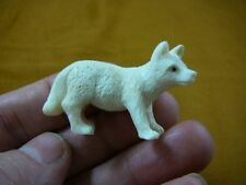 (Wolf-9) white Wolf Coyote standing shed Antler figurine Bali detailed carving