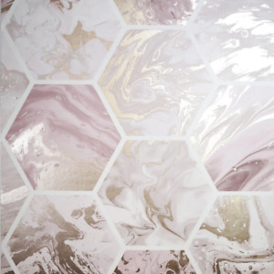 Marbled Hexagon Pink and Rose Gold Geometric Wallpaper by Arthouse 908506