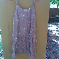 Krista Larson Silk Slip Dress in Mauve with Embroidery Print