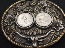 "Buffalo Nickel Coins In Belt Buckle Western Theme Cow Skull 3 3/8"" x 3"""