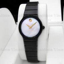 Women Movado SAPPHIRE PVD Ceramic White MOP Pearl Dial Vintage Swiss Watch RARE!