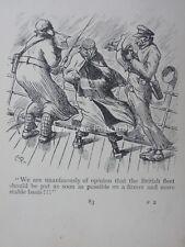 Royal Navy & sailor navy news reporters en mer houleuse antique punch Cartoon