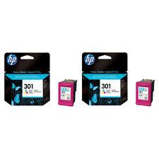 2x Original HP 301 Colour Ink Cartridges For DeskJet 3050 Inkjet Printer
