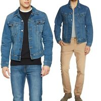 Lee Mens Blue Denim Jacket Button Cotton Classic Western Trucker Jean Jacket
