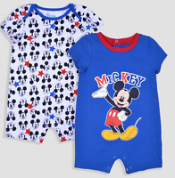 NWT Lot of 2 Disney Mickey Mouse Rompers Baby Boy NB 0-3 12 18 Months