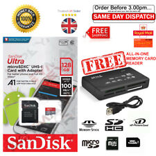 SanDisk 128GB, 64GB, Class 10, 100MB/s Micro SD CARD, SDX, FREE CARD READER