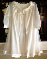 Rare Vintage Sears Roebuck & Co Peignoir White Lingerie Dress Gown Nightgown (M)