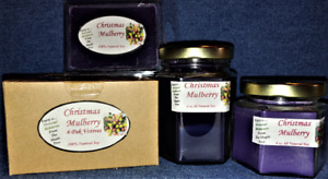 **NEW** Hand Poured Christmas Mulberry Soy Candles, Tarts & 4-Pack Votives
