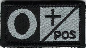 Grey Gray Black Blood Type O+ Positive Patch VELCRO® BRAND Hook Fastener Compat
