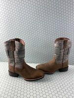 ARIAT Sport Patriot Brown Leather Square Toe Pull On Western Boots Men's 10.5 D