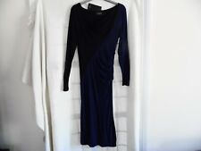 PAUL SMITH LADIES FITTED JERSEY DRESS BLACK/NAVY MEDIUM FULLY LINED RRP £209