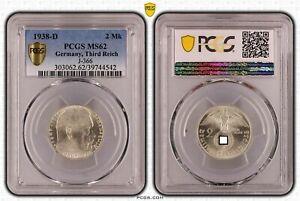 Third Reich 2 Reichsmark Hindenburg 1938 D PCGS Certified MS62 51124