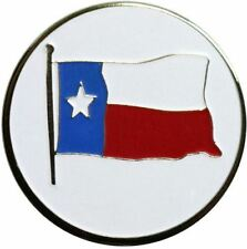 Two Sided US American Flag and Texas State Flag Golf Ball Marker with Matching H
