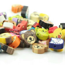100 pcs Mixed Color Fimo Polymer Clay Charm Loose Animals Spacer Beads ho0u