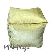 MPW Plaza Velvet Square Pouf, Green, Moroccan Ottoman (Stuffed)