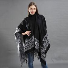 Luxury Celeb Cashmere Like Poncho Blanket Wrap Shawl Cape Stylish Black Ladies