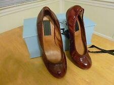 Lanvin Patent Cowhide Ballet Heel in Bordeaux Red Euro 37 NEW