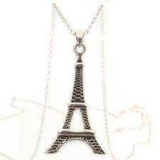 ARGENTO Sterling Torre Eiffel Design Ciondolo e Catena con dettaglio ossidato PM