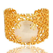 14K Yellow Gold Plated Brass White Moonstone Gemstone Cuff Bangle Jewelry