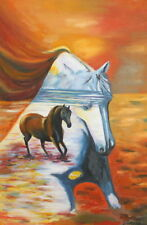 Abstract Landscape Horses Oil Painting Signed