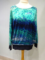 BASSINI NAVY JADE GREEN TOP BLOUSE SIZE 16 BATWING SLEEVES ROUND NECK